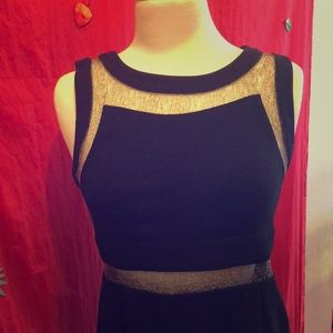 Black Party Dress with Silver Mesh Details